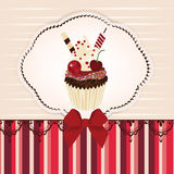 Invitation card with delicious cupcake Royalty Free Stock Image