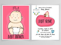 Invitation card design for baby shower. Royalty Free Stock Photos