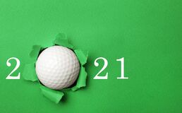 Invitation card design with ball for 2021 golf events