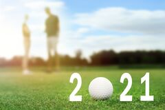 Invitation card with ball for 2021 golf events. Space for text