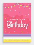 Invitation card design for birthday party. Beautiful invitation card design with bunting decoration for Birthday Party celebration Royalty Free Stock Photo