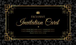 Invitation card design - black and gold vintage style royalty free stock photo