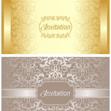 Invitation card design in gold and silver colors Royalty Free Stock Images