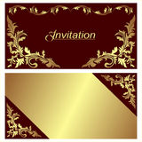 Invitation card - design with golden Borders. Stock Image