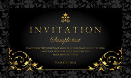 Invitation card design - luxury black and gold vintage style. Exclusive vintage template for invitation card design royalty free illustration