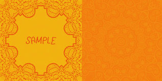 Invitation card design. Ornamental orange vector Stock Photos