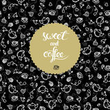 Invitation card design with tea and coffee and dessert illustrat Royalty Free Stock Photography