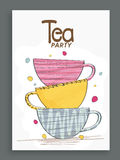 Invitation card design for tea party. Stock Photo