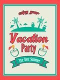Invitation card design for vacation party. Stock Photos