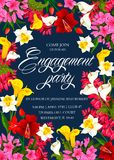 Invitation card for engagement party. Engagement party colorful vector template. Flower design for the engagement party of lovely couple. Creative poster with Royalty Free Stock Image