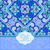 Invitation card with ethnic background, royal ornamental design Stock Photography