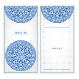 Invitation card in European style, floral ornament, template Stock Photo