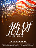 Invitation card with fireworks for American Independence Day. Beautiful invitation card decorated with fireworks on waving national flag background for 4th Of Stock Photo