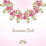 Invitation card with floral background. Stock Photo