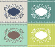 Invitation or card with floral frame set of four c. Vector invitation or card with floral frame set of four colors Stock Image