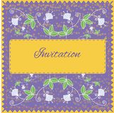 Invitation card with floral ornament. For your design and business Stock Photography