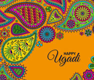 Invitation card. Floral paisley background with indian ormament and text Happy Ugadi Royalty Free Stock Images