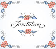 Invitation card with floral pattern Stock Images