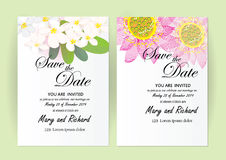 Invitation card flowers concept come with pink color tree flower bouquet cherry blossom,cosmos,and Stock Image