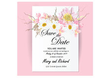 Invitation card flowers concept come with pink color tree flower bouquet cherry blossom,cosmos,and. Water lily or lotus Royalty Free Stock Image