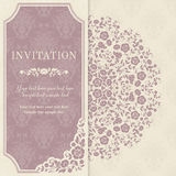 Invitation card with flowers in a folk style Stock Images