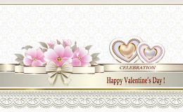 Invitation card with flowers. And hearts Royalty Free Stock Photo