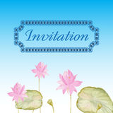 Invitation card with flowers lotus. Watercolor Vector Illustration. Romantic decor Royalty Free Stock Image