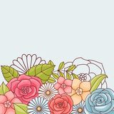 Invitation card with flowers. Vintage vector pattern Stock Photos