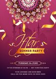 Invitation card or flyer design with exquisite flower and event details for Iftar Dinner Party. Invitation card or flyer design with exquisite flower and event royalty free illustration