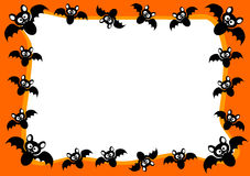 Halloween Invitation Card Flying Bats Frame Stock Image
