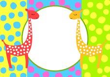 Invitation Card Frame Giraffes Royalty Free Stock Image