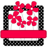 Polka dots frame with flowers. Invitation card or frame with polka dots and flowers. Personalised white text will look good on the pink banner Stock Image