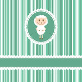 Invitation card with funny sheep on stripe backgro Stock Images
