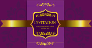 Invitation card gold style Royalty Free Stock Images