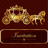 Invitation card with golden lettering. Vintage horse carriage design. Good idea for template, wedding card, retro style. Vector il. Lustration Royalty Free Stock Photos