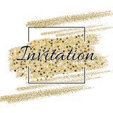 Invitation card with golden sparkling stars and glittering elements Stock Photography