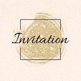 Invitation card with golden sparkling stars and glittering elements Royalty Free Stock Image
