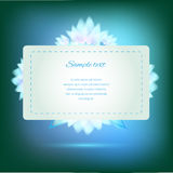 Invitation card on green background with flowers Stock Photo