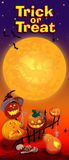 Invitation card with Halloween pumpkins. Trick or treat. Raster illustration. Vertical flyer royalty free illustration