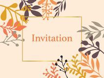 Invitation card with hand drawn autumn fall leaves. Vector illustration. Season lettering illustration. Invite. Gold foil accents. vector illustration