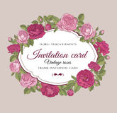 Invitation card with hand drawn flowers Stock Image