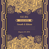 Invitation card with hand drawn golden roses backg Stock Image
