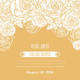 Invitation card with hand drawn golden roses backg Royalty Free Stock Photo