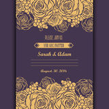 Invitation card with hand drawn golden roses background Royalty Free Stock Images