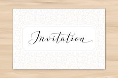 Invitation card with hand written custom calligraphy and hearts background. Great for wedding and birthday party design royalty free stock photos