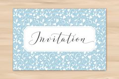 Invitation card with hand written custom calligraphy and hearts background. Great for wedding and birthday party design stock images
