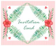 Invitation card with flowers and branches, watercolor illustration. Invitation card with hibiscus flowers and fern branches, watercolor illustration royalty free illustration