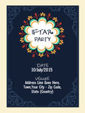 Invitation card for holy month Ramadan Kareem Iftar party celebration. Royalty Free Stock Images