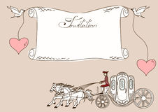 Invitation or card with horse carriage Royalty Free Stock Photo