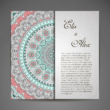 Invitation card with lace ornament Stock Image